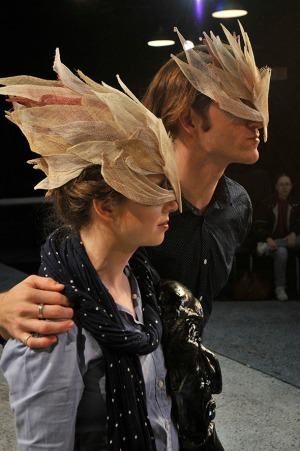 Publicity picture for FronteraFest. Masks by Nellie Kurz. Pictured Nellie Kurz and Briandaniel Oglesby